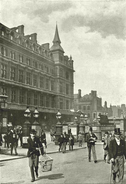 Associate Product LONDON. Cannon Street- The Hotel and Railway Station 1896 old antique print