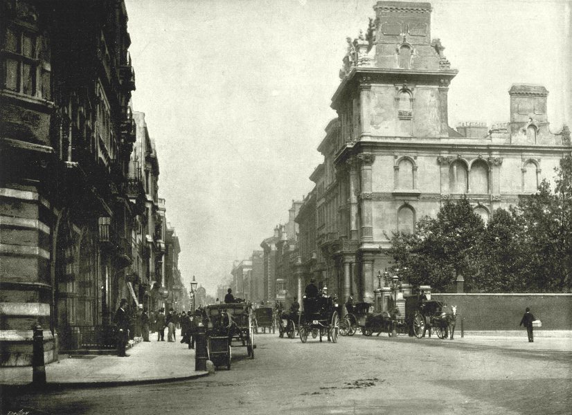 Associate Product LONDON. Pall Mall- From the bottom of St Jamess Street 1896 old antique print