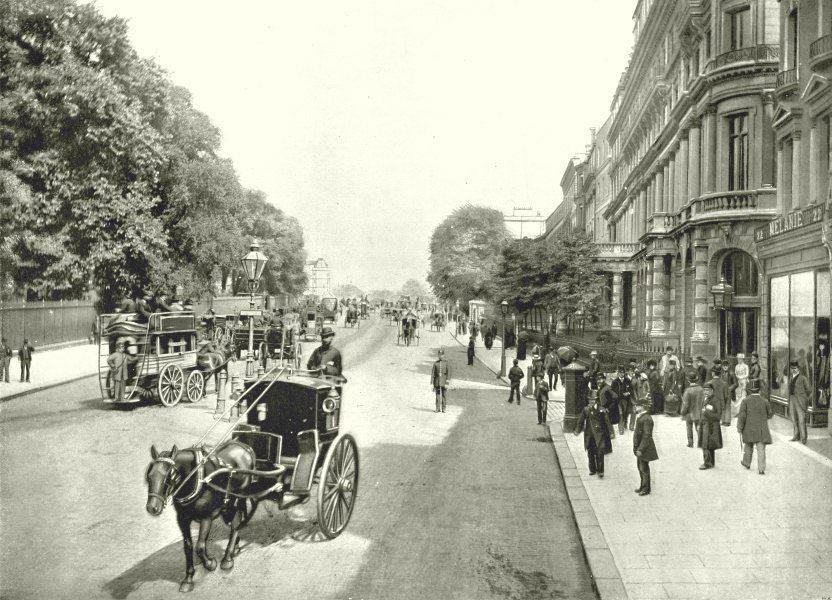 Associate Product LONDON. Knightsbridge- at St George's place. Towards Hyde Park Corner 1896