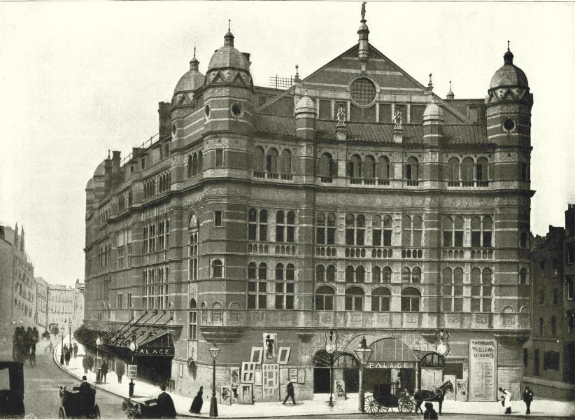 Associate Product LONDON. Palace Theatre- building, from Cambridge Circus 1896 old antique print