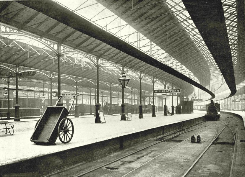 Associate Product LONDON. Euston Station- General view of the Platforms 1896 old antique print