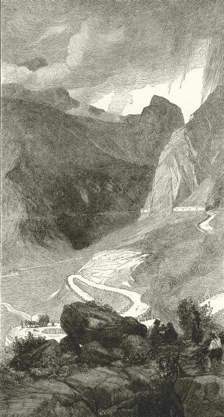 Associate Product ITALY. Road over the Mont Cenis 1877 old antique vintage print picture