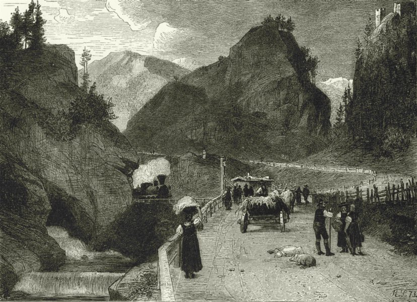 Associate Product ITALY. On the Brenner, Below Gossensass 1877 old antique vintage print picture