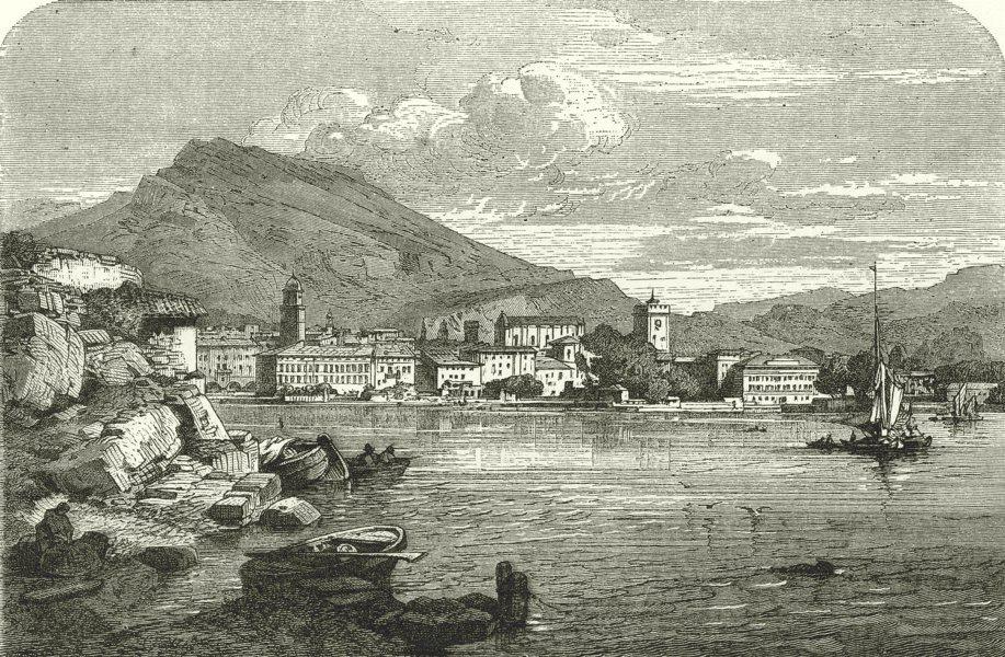 Associate Product ITALY. Lago Di Garda. Riva 1877 old antique vintage print picture