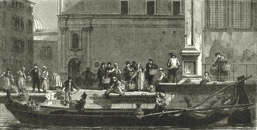 Associate Product VENICE. Arrival of a Milk- Boat 1877 old antique vintage print picture