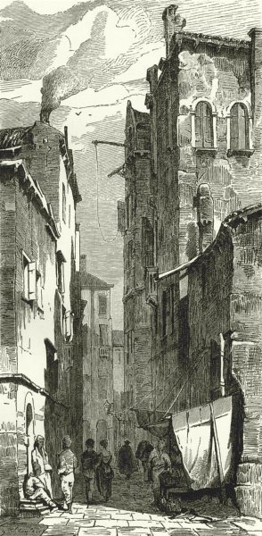 Associate Product VENICE. Street in Venice 1877 old antique vintage print picture