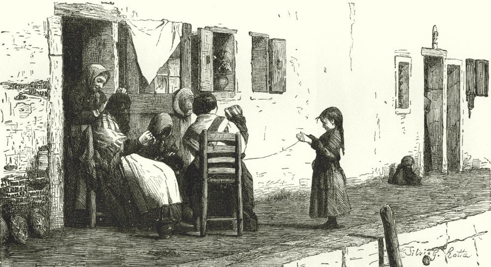 Associate Product VENICE. Street scene. Family 1877 old antique vintage print picture