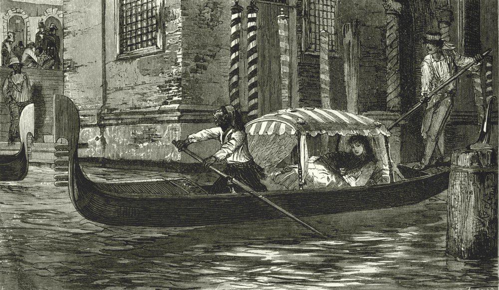 Associate Product VENICE. A Gondola 1877 old antique vintage print picture