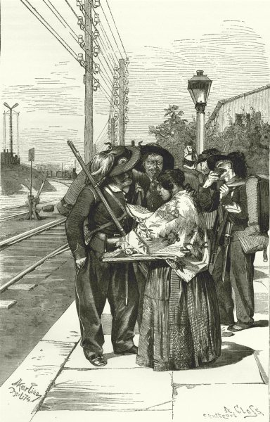 Associate Product ITALY. Mantua. Riflemen waiting for a Train 1877 old antique print picture