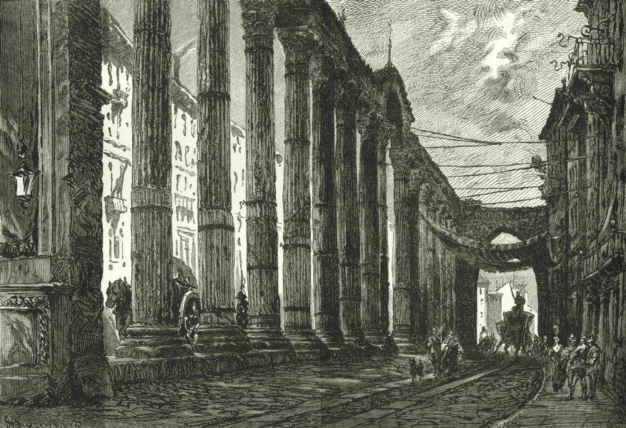 ITALY. Milan. Columns of San Lorenzo 1877 old antique vintage print picture