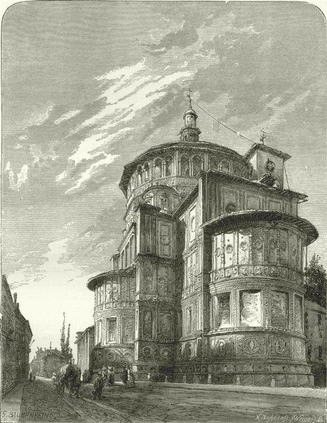 Associate Product ITALY. Milan. Santa Maria delle Grazie 1877 old antique vintage print picture