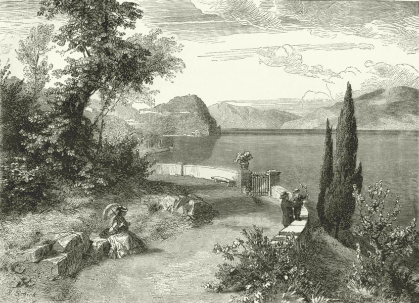 Associate Product ITALY. Lago di Como. Bellaggio, seen from Villa Giulia 1877 old antique print
