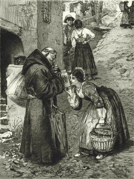 ITALY. Lago di Lugano. Mendicant Friar in the Brianza 1877 old antique print