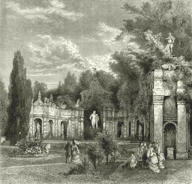 Associate Product ITALY. Lago di Lugano. Rotunda of Hercules on Isola Bella 1877 old print