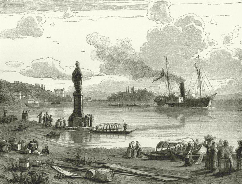 Associate Product ITALY. Lago di Lugano. Bay of Pallanza 1877 old antique vintage print picture