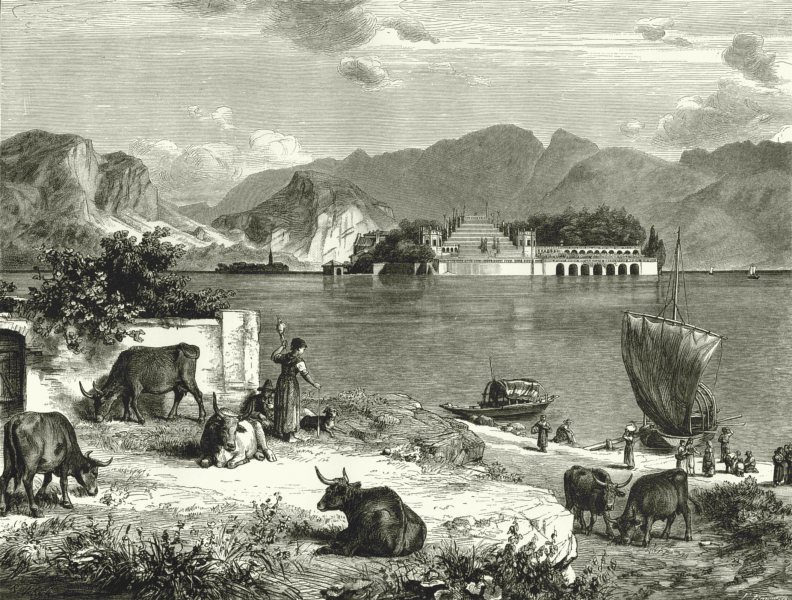 Associate Product ITALY. Lake Maggiore. with Isola Bella & Pescatore 1877 old antique print