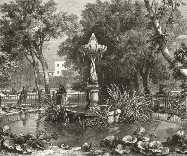 Associate Product ITALY. Genoa. Fountain in the Acqua Sola 1877 old antique print picture