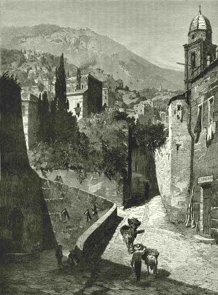 Associate Product ITALY. Genoa. Salita San Paolo, Genoa 1877 old antique vintage print picture