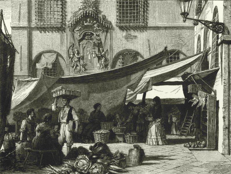 Associate Product ITALY. Genoa. Market in the Piazza di Pescheria 1877 old antique print picture