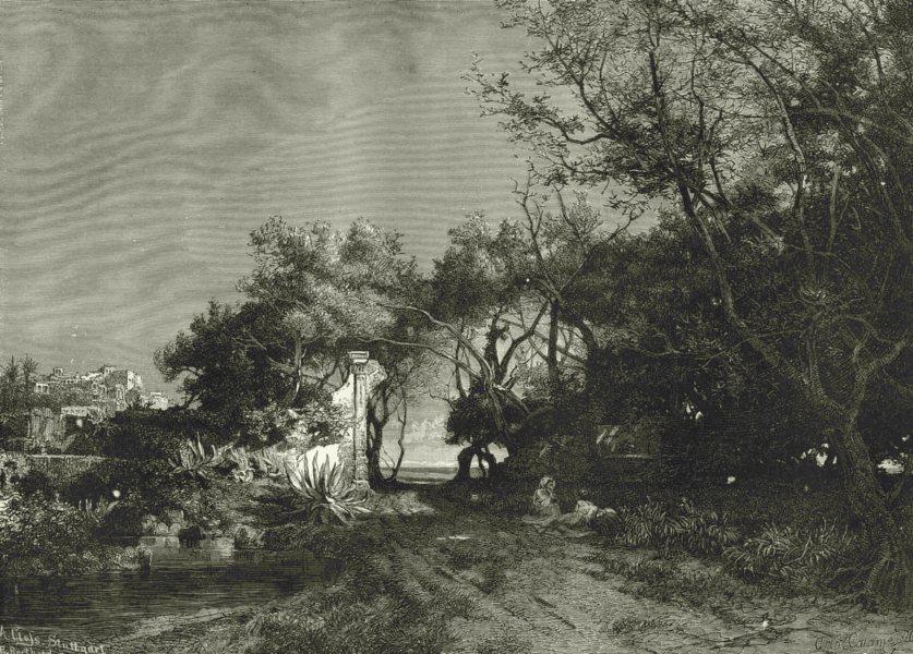 Associate Product ITALY. Riviera di Ponente. From a Villa near Bordighera 1877 old antique print