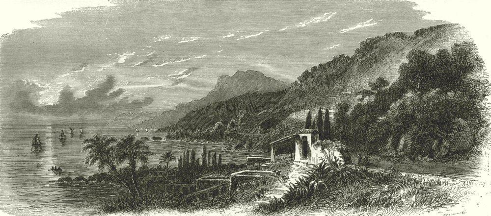 Associate Product ITALY. Riviera di Ponente. View near San Remo 1877 old antique print picture