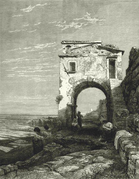 Associate Product ITALY. Riviera di Ponente. Seashore near Savona 1877 old antique print picture