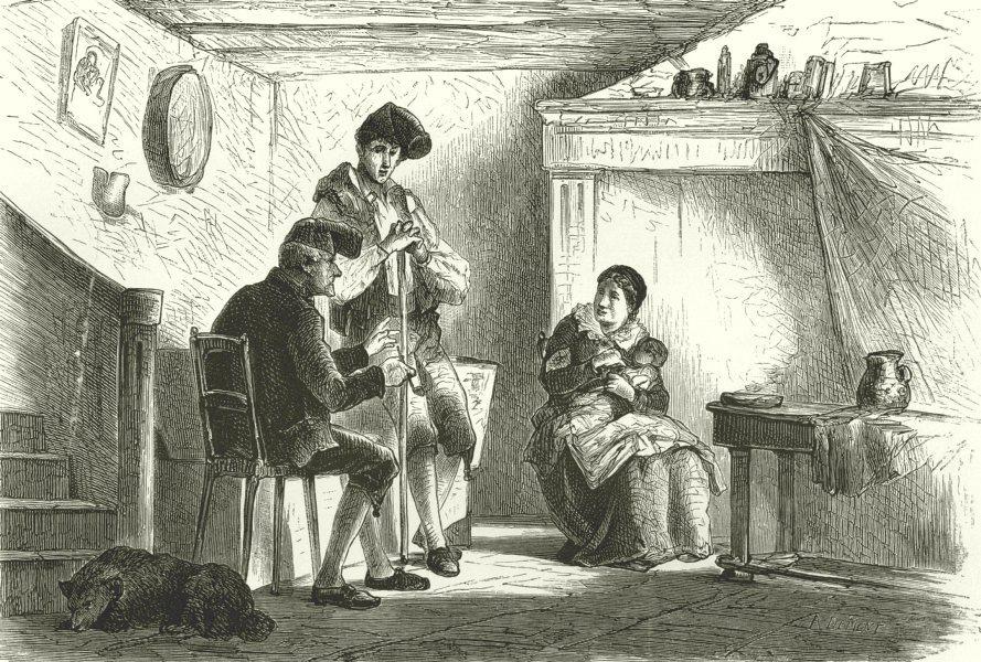 ITALY. Riviera di Ponente. Interior of a Peasant's Cottage in Briga 1877 print