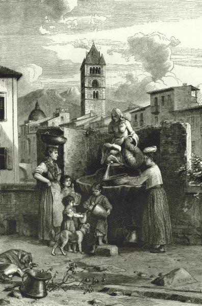 Associate Product ITALY. Riviera di Levante. Fountain of the Siren in Carrara 1877 old print