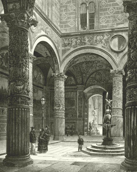 Associate Product ITALY. Florentine art. Courtyard of the Palazzo Vecchio, Florence 1877 print