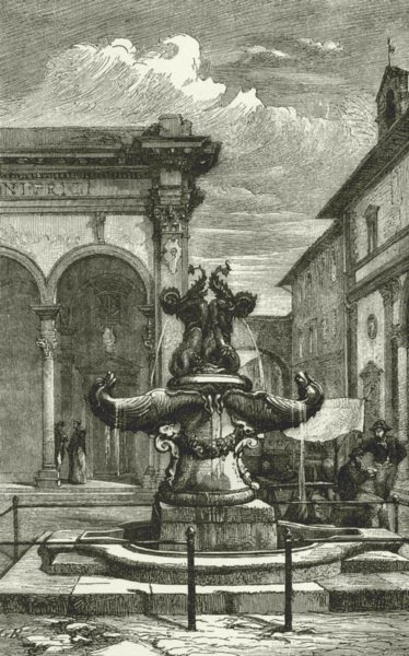 Associate Product ITALY. Florentine art. Bronze fountain Piazza Santissima Annunziata 1877 print