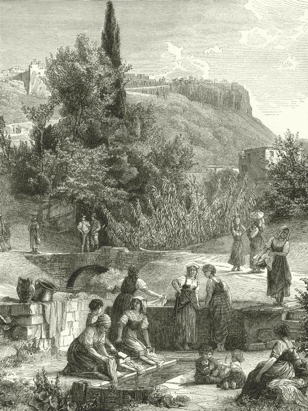 Associate Product ITALY. Orvieto 1877 old antique vintage print picture