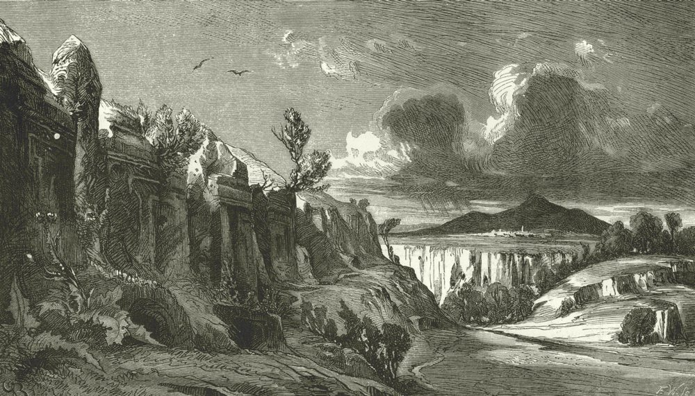 Associate Product ITALY. Etruscan Rock- tombs at Castel D'asso, near Viterbo 1877 old print