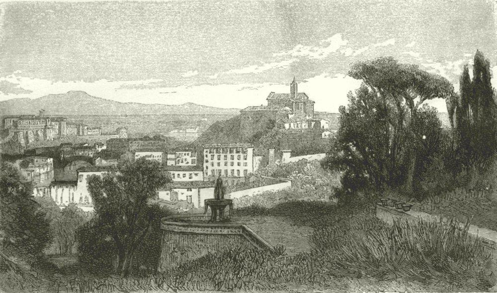 Associate Product ROME. Villa Lante on the Janiculum 1877 old antique vintage print picture