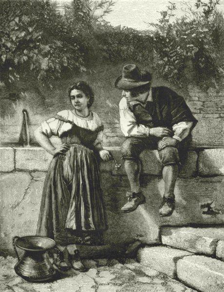 Associate Product ROME. Courtship 1877 old antique vintage print picture