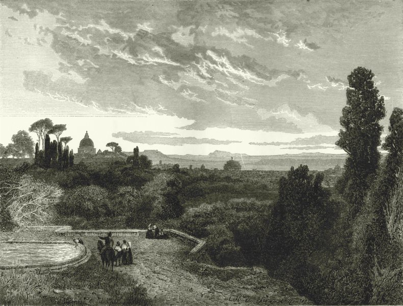 Associate Product ROME. Rome, from the Villa Corsini 1877 old antique vintage print picture