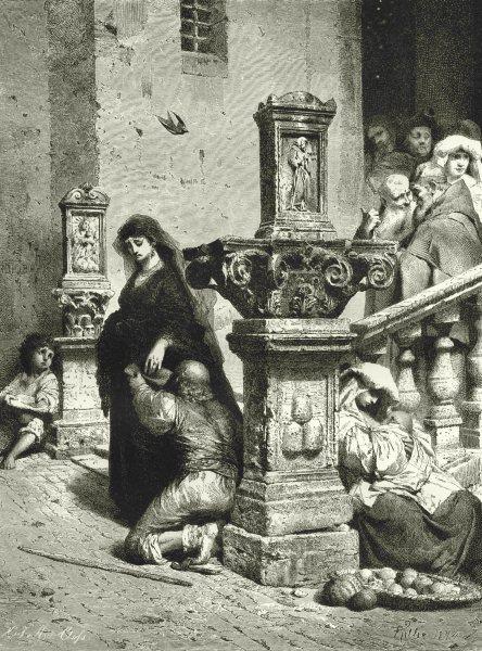 Associate Product ROME. After the Mass in S Trinità De' Monti, Rome 1877 old antique print