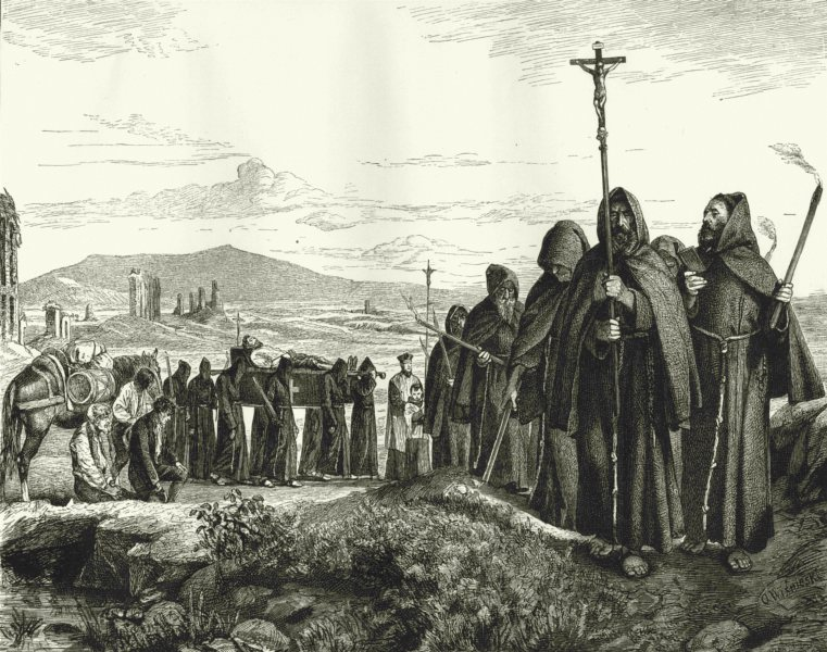Associate Product ROMAN CAMPAGNA. Brethren of Misericordia bearing body a dead man 1877 print
