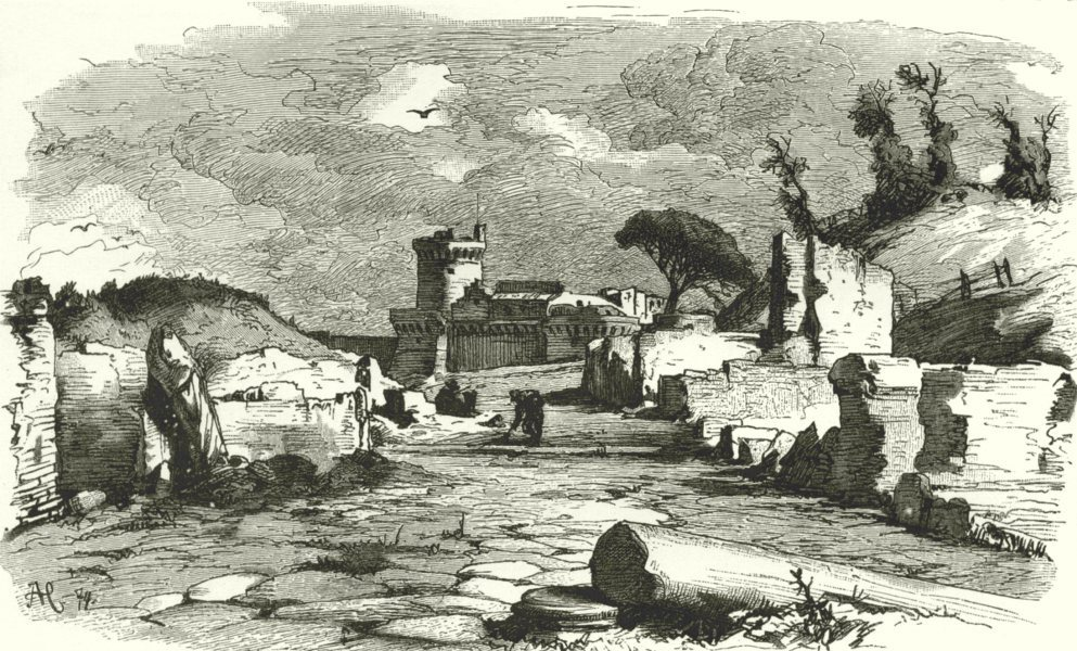 Associate Product ROME. Roman Campagna. Ostia 1877 old antique vintage print picture