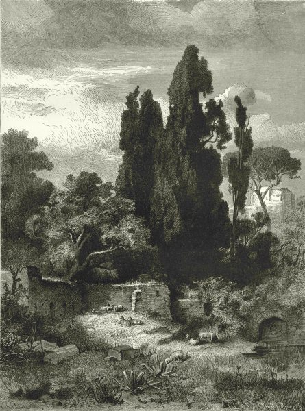 ITALY. From the Villa of Hadrian, near Tivoli 1877 old antique print picture