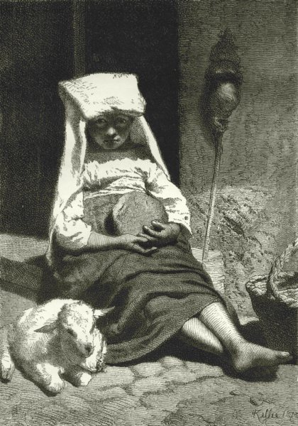 Associate Product ITALY. Roman Beggar child 1877 old antique vintage print picture