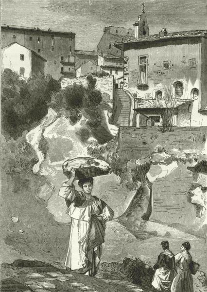 Associate Product ITALY. Marino on the Lake Albano 1877 old antique vintage print picture