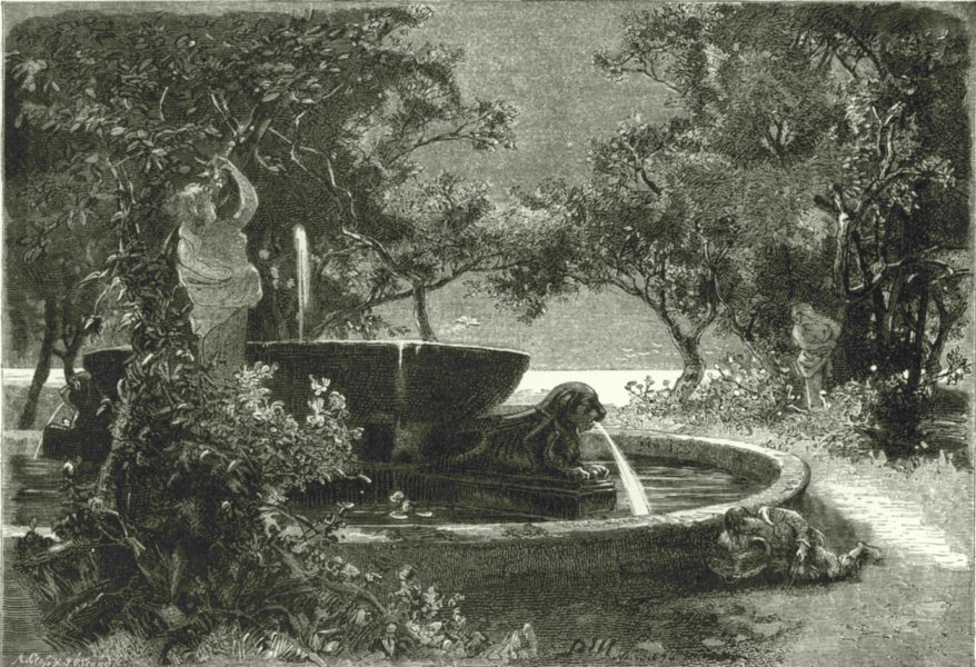 Associate Product ITALY. Fountain in the Villa Reale, Naples 1877 old antique print picture