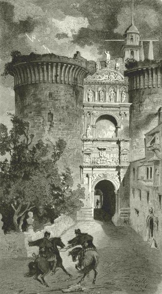 Associate Product ITALY. Triumphal Arch of king Alfonso 1877 old antique vintage print picture