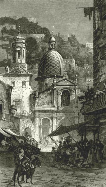 Associate Product ITALY. Santa Maria in Portico, Naples 1877 old antique vintage print picture