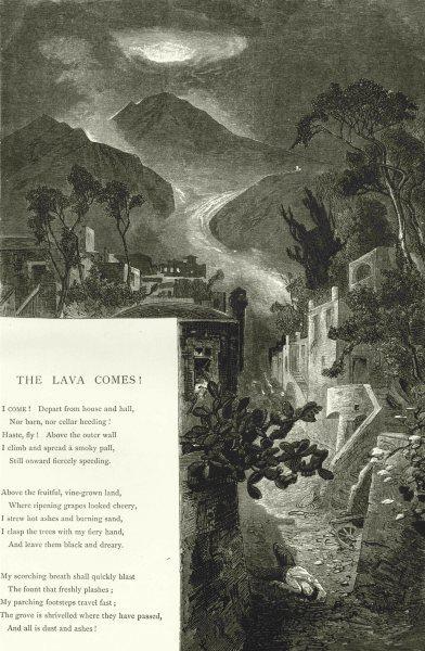 Associate Product ITALY.Vesuvius.Lava comes. Pompeii 1877 old antique vintage print picture