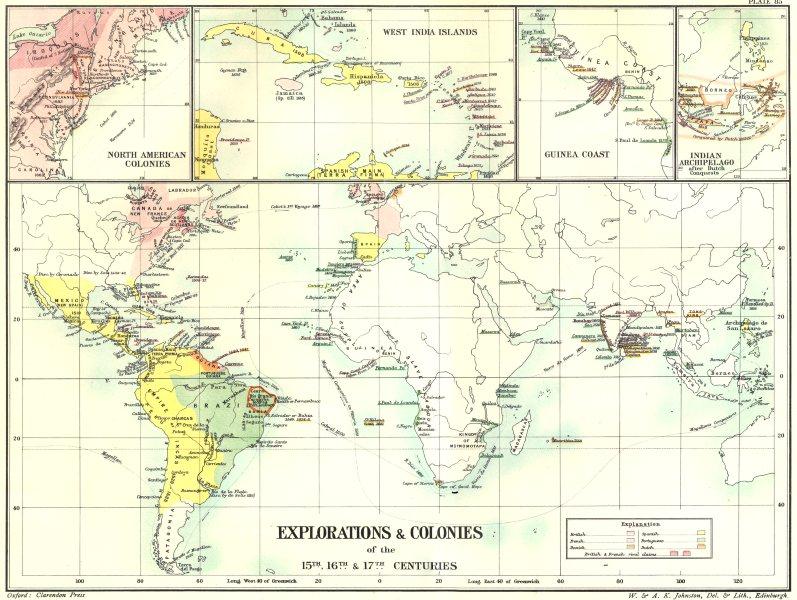 EXPLORATION COLONIES.15C 16C 17C; Americas; W Indies; Guinea;E Indies 1903 map