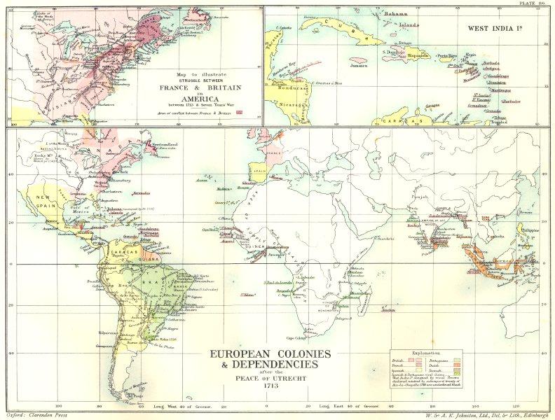 Associate Product EUROPEAN COLONIES.Peace Utrecht 1713; France Britain America;W Indies 1903 map