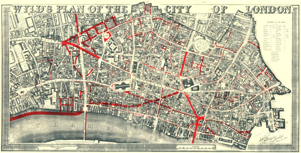 CITY OF LONDON WYLDS PLAN 19th century street improvements 1944