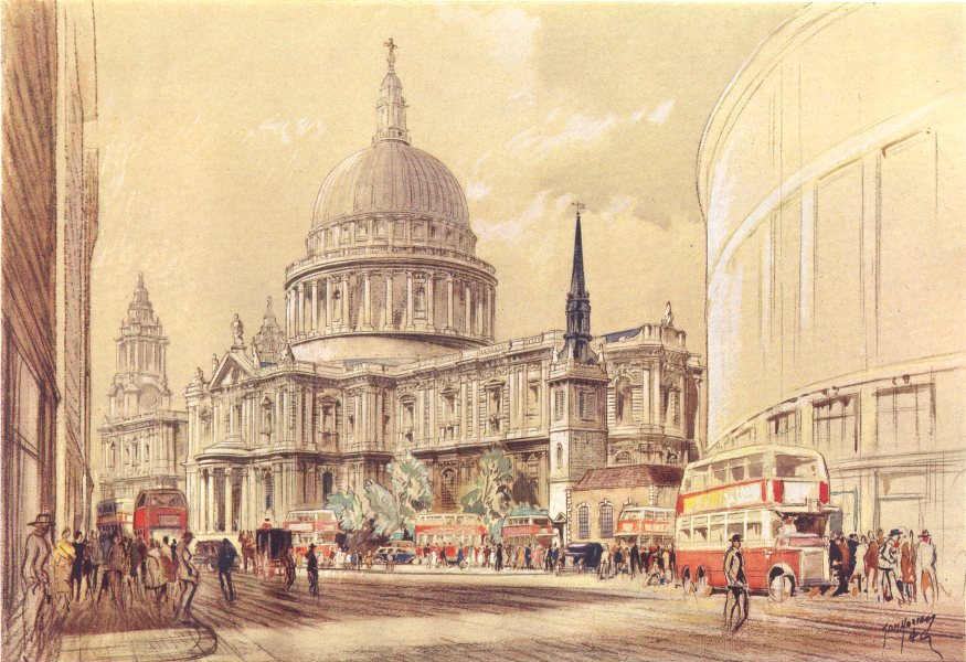 LONDON St Paul's cathedral showing planned widened Cannon Street 1944 print