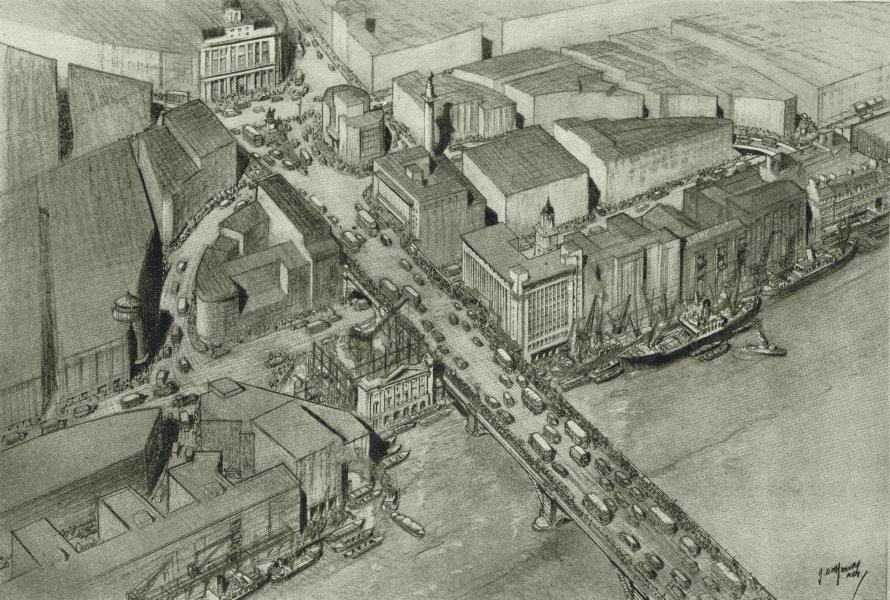Associate Product LONDON. Bird's-eye view London Bridge Lower Thames Street 1944 old print